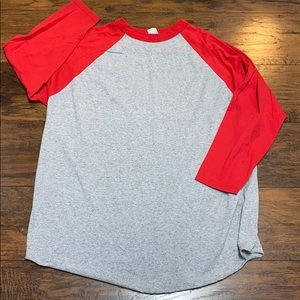 Augusta 2X raglan style 3/4 sleeve t-shirt gray